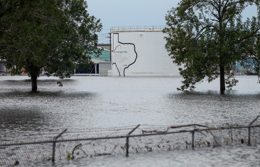 The Arkema Inc. chemical plant is flooded from Tropical Storm Harvey, Wednesday, Aug. 30, 2017, in Crosby, Texas. The plant, about 25 miles (40.23 kilometers) northeast of Houston, lost power and its backup generators amid Harvey's dayslong deluge, leaving it without refrigeration for chemicals that become volatile as the temperature rises. (Godofredo A. Vasquez/Houston Chronicle via AP)