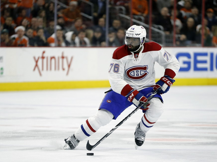 FILE - In this Feb. 2, 2016, file photo, Montreal Canadiens' P.K. Subban moves the puck during an NHL hockey game against the Philadelphia Flyers in Philadelphia.  The Nashville Predators pulled off a blockbuster before the start of free agency Wednesday, June 29, 2016,  by acquiring P.K. Subban from the Montreal Canadiens in exchange for Shea Weber, a swap of All-Star defensemen .(AP Photo/Matt Slocum, File)