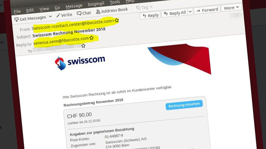 Offenders send Swisscom – watson fake emails – halids