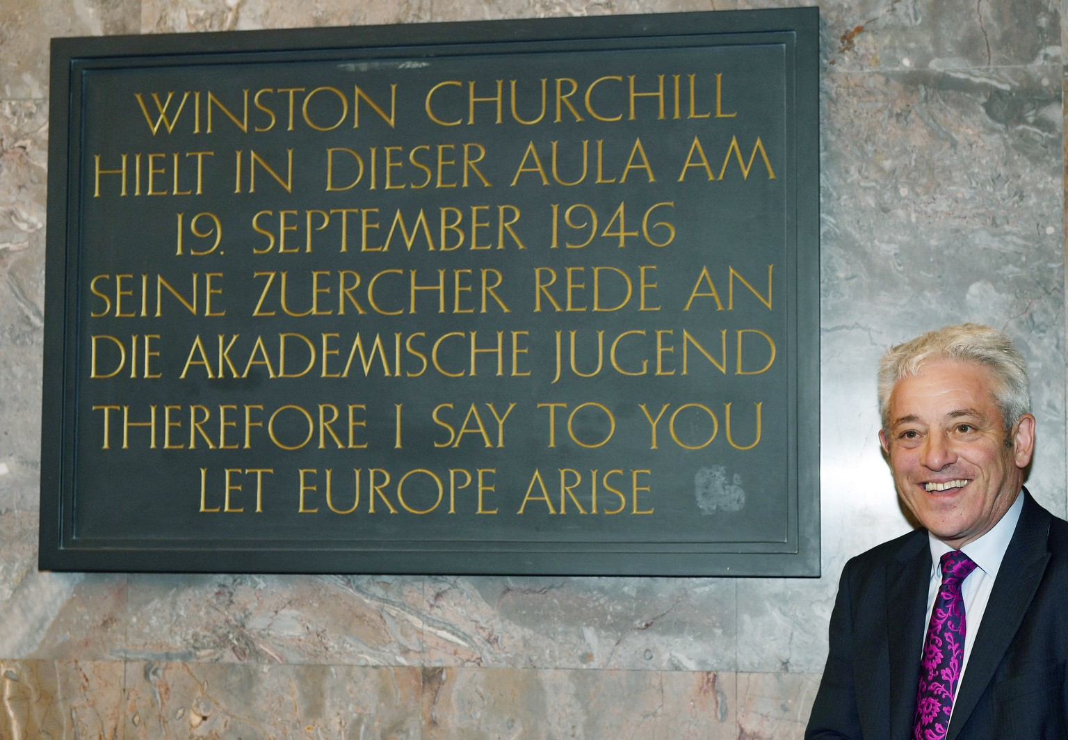 epa07853864 John Bercow, Speaker of Britain's House of Commons, poses in front of the plaque of Winston Churchill  at the Europa Institut at the University of Zurich, Switzerland, 19 September 2019.  EPA/WALTER BIERI