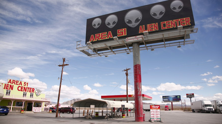 epa07715149 (FILE) The Area 51 Alien Center, a tourist attraction at a gas station, in Amargosa Valley, Nevada, USA, 12 March 2019 (reissued 13 July 2019). According to media reports, over 600,000 Facebook users have signed up for an event to storm Area 51, a secret US military base in in the desert of Nevada. The event in which participants hope to 'see them aliens' is scheduled for 20 September.  EPA/BEN WENZ