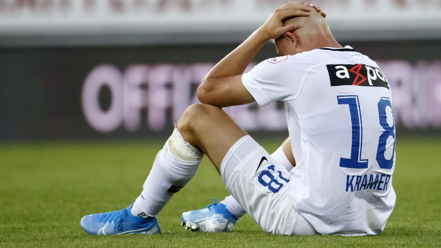 Zurich's forward Blaz Kramer react after losing against Sion, during the Super League soccer match of Swiss Championship between FC Sion and FC Zuerich, at the Stade de Tourbillon stadium, in Sion, Switzerland, Saturday, August 3, 2019. (KEYSTONE/Salvatore Di Nolfi)