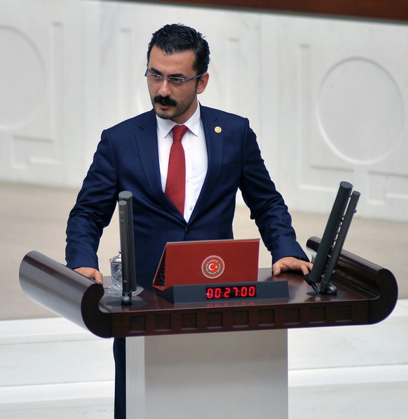 epa06849545 A former Republican People's Party (CHP) lawmaker Eren Erdem speaks at Turkish Parliament in Ankara, Turkey, 17 November 2015 (Issued 29 June 2018). According to media reports, Eren Erdem was detained in Ankara after the Istanbul Chief Public Prosecutor's Office issued a warrant. Erdem was arrested on 29 June over terrorism charges.  EPA/STR