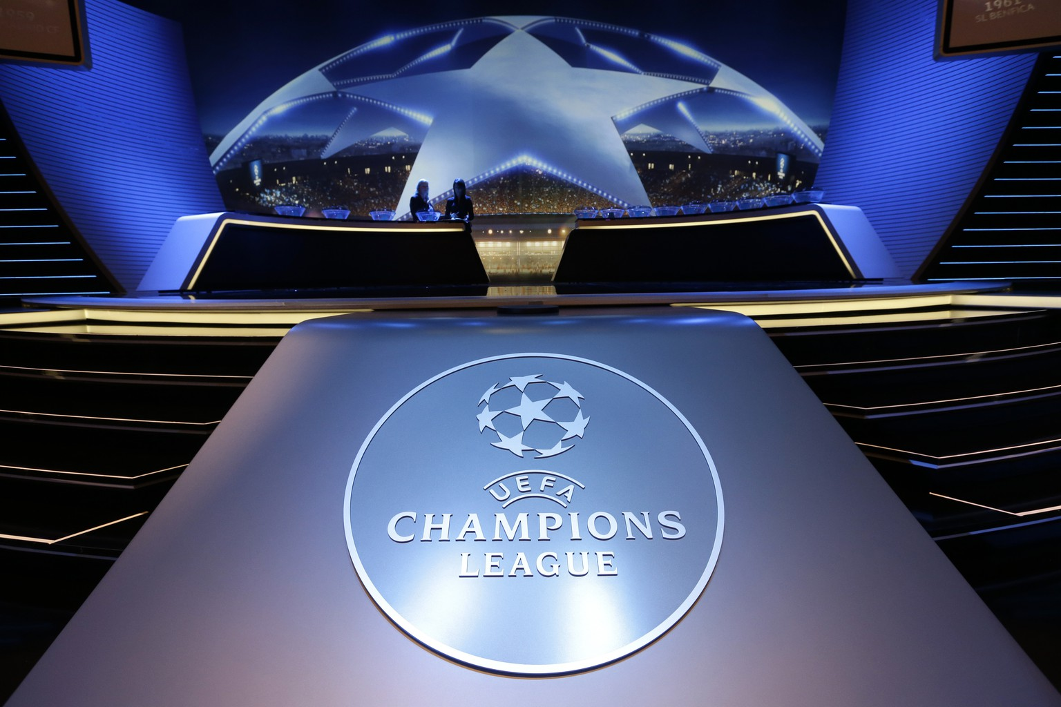 Logo of the UEFA Champions League is dislayed during the UEFA Champions League draw at the Grimaldi Forum, in Monaco, Thursday, Aug. 25, 2016. (AP Photo/Claude Paris)