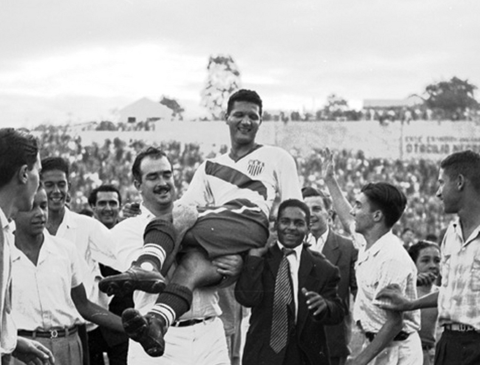FILE - In this June 28, 1950 file photo, United States soccer player Joe Gaetjens is carried off by cheering fans after the USA team beat England 1-0 in a World Cup soccer match in Belo Horizonte, Brazil. Gaetjens scored the winning goal in the shock result of the tournament. Sixty years after the Americans beat England in what is still considered one of soccer's greatest upsets, the United States and England will meet in their group opener at the World Cup in South Africa in June 2010. (AP Photo, File)