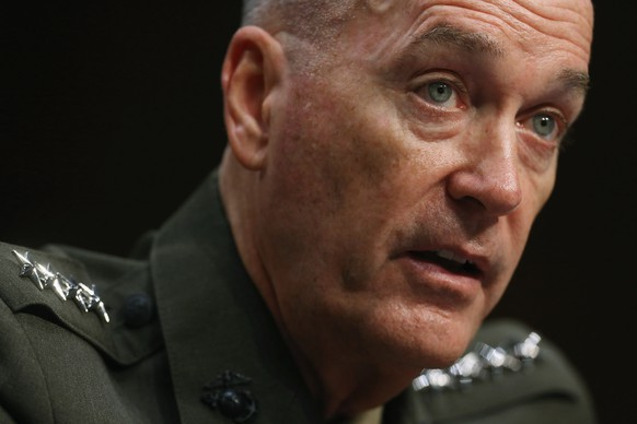 WASHINGTON, DC - JULY 09:  Commandant of the U.S. Marine Corps General Joseph Dunford Jr. testifies before the Senate Armed Services Committee during his confirmation hearing to be the next Chairman of the Joint Chiefs of Staff in the Hart Senate Office Building on Capitol Hill July 9, 2015 in Washington, DC. During testimony, Dunford identified Russia as the biggest threat facing the United States and that if budget sequestration was to continue, the U.S. military will face 'catastrophic consequences.'  (Photo by Chip Somodevilla/Getty Images)