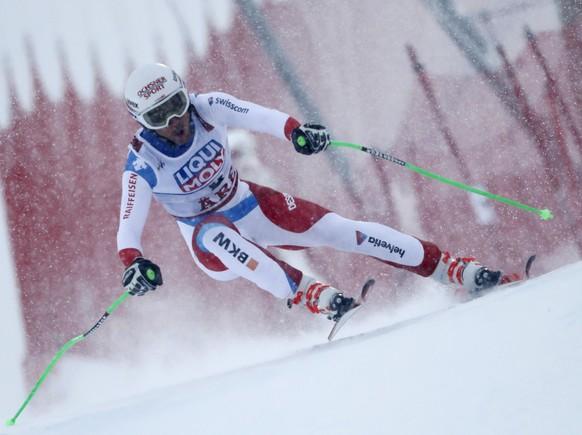 Switzerland's Carlo Janka speeds down the course during the men's downhill race, at the alpine ski World Championships in Are, Sweden, Saturday, Feb. 9, 2019. (AP Photo/Gabriele Facciotti)