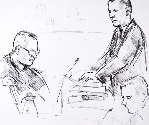 epa06588763 An artist's drawing by Anne Gyrite Schuett shows accused Peter Madsen (L) and the prosecutor Jakob Buch-Jepsen (standing) on the first day of the trial at the courthouse in Copenhagen, Denmark, where the trial of Danish inventor Peter Madsen, charged with murdering and dismembering Swedish journalist Kim Wall aboard his homemade submarine, opens 08 March 2018.  EPA/Anne Gyrite Schuett  DENMARK OUT