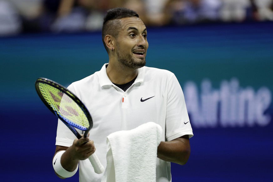 Nick Kyrgios, of Australia, reacts against Andrey Rublev, of Russia, during the third round of the U.S. Open tennis tournament, Saturday, Aug. 31, 2019, in New York. (AP Photo/Adam Hunger)