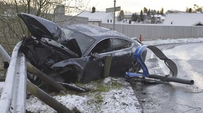 The wreck of an Audi car belonging to Norwegian skier Petter Northug is pictured after it crashed in the Byasen area of Trondheim in central Norway, in this file picture taken May 4, 2014.  Norway's former Olympic cross-country skiing champion Northug was sentenced to 50 days in jail on October 9, 2014 for crashing his car and injuring a friend in a drink driving accident in May. Northug, twice a gold medallist in the 2010 Vancouver Winter Games, also received a permanent driving ban and a 185,000-crown fine ($28,800) after he fled the scene of the accident in Trondheim in western Norway, leaving his friend behind.    REUTERS/Henrik Sundgard/NTB Scanpix/Files (NORWAY - Tags: DISASTER SPORT SKIING) ATTENTION EDITORS - THIS IMAGE HAS BEEN SUPPLIED BY A THIRD PARTY. NORWAY OUT. NO COMMERCIAL OR EDITORIAL SALES IN NORWAY. THIS PICTURE IS DISTRIBUTED EXACTLY AS RECEIVED BY REUTERS, AS A SERVICE TO CLIENTS