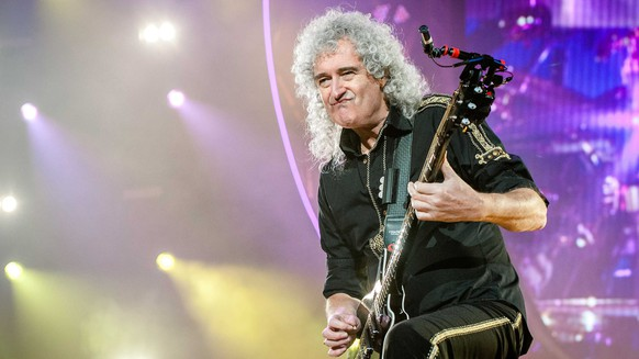 epa06082519 (FILE) British guitarist Brian May performs during a concert of the band 'Queen + Adam Lambert' at the Ziggo Dome in Amsterdam, Netherlands, 30 January 2015 (reissued 12 July 2017). Brian May will celebrate his 70th birthday on 19 July 2017.  EPA/FERDY DAMMAN