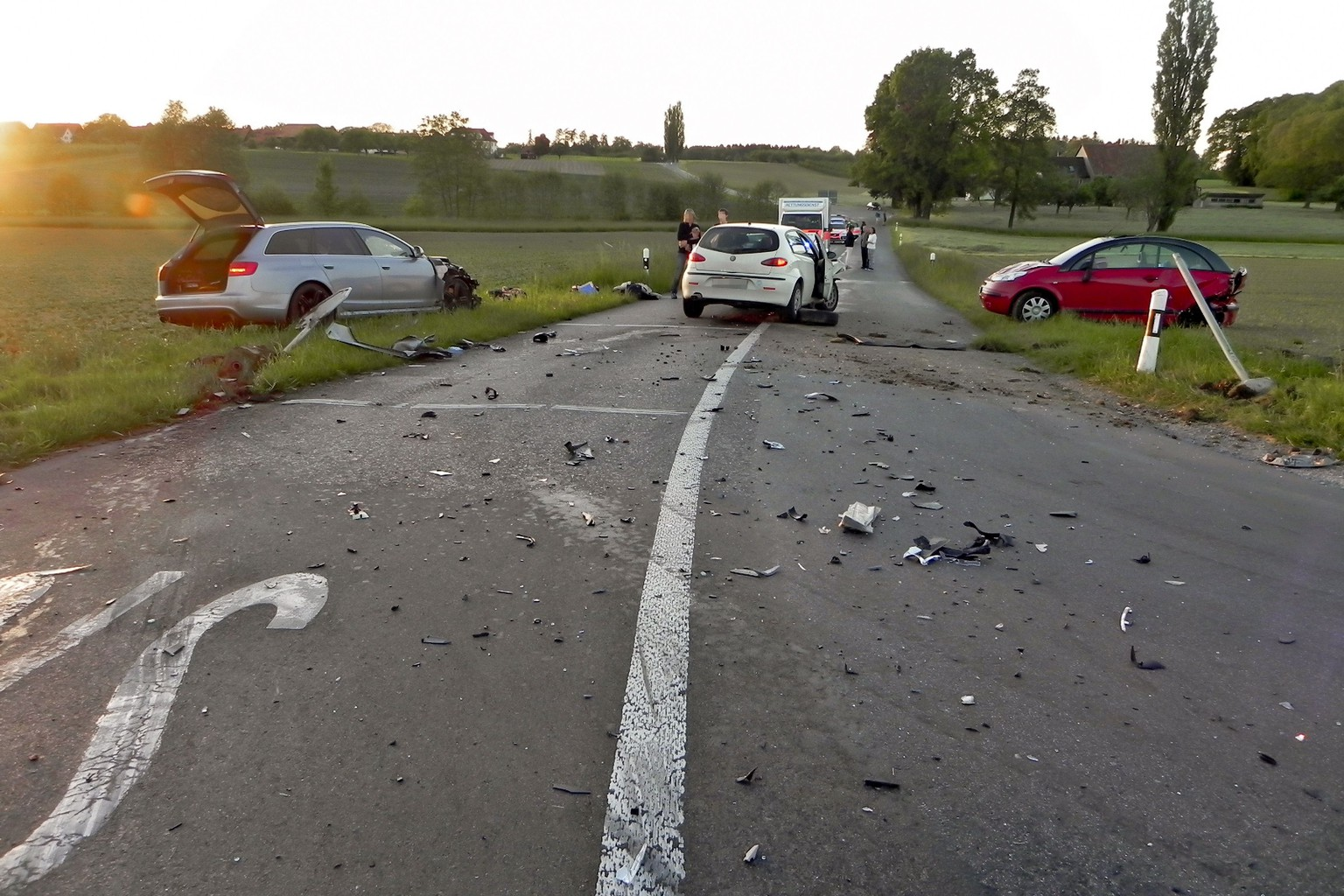 This picture made available by the Police of the Swiss Canton of Thurgau shows the site of a car crash on May 19, 2014 in Mattwil. Germany's only Tour de France winner Jan Ullrich has been involved in a road accident that injured two people in Switzerland, his adopted home, a newspaper reported. Blick said Ullrich was categorical that alcohol was not to blame for the crash, which occurred on Monday night outside the village of Mattwil in northern Switzerland. Police in the Thurgau region where Mattwil is located said in a statement that the man responsible for the crash failed a breathalyser test and was stripped of his driving license on the spot.  AFP PHOTO / HANDOUT / KANTONSPOLIZEI THURGAU