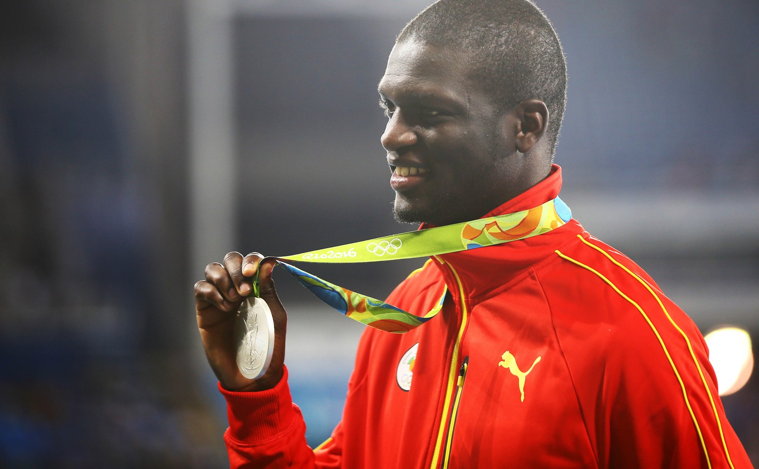 2016 Rio Olympics - Athletics - Victory Ceremony - Men's 400m Victory Ceremony - Olympic Stadium - Rio de Janeiro, Brazil - 15/08/2016. Silver medalist Kirani James (GRN) of Grenada reacts after receiving his medal.  REUTERS/Leonhard Foeger  FOR EDITORIAL USE ONLY. NOT FOR SALE FOR MARKETING OR ADVERTISING CAMPAIGNS.