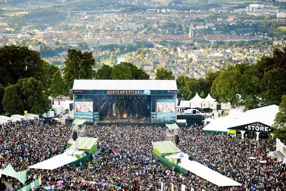 epa05426905 Aerial view of the Gurten music open air festival venue in Bern, Switzerland, 15 July 2016. The Gurtenfestival runs from 14 to 17 July.  EPA/MANUEL LOPEZ   EDITORIAL USE ONLY