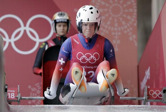 Martina Kocher of Switzerland starts her training run at the 2018 Winter Olympics in Pyeongchang, South Korea, Saturday, Feb. 10, 2018. (AP Photo/Wong Maye-E)