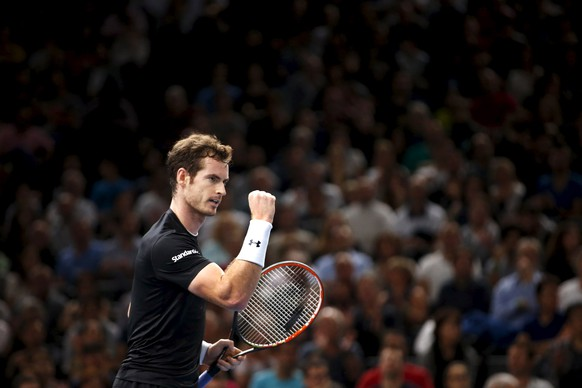 Andy Murray of Britain reacts during his victory over David Ferrer of Spain in their men's singles semi-final tennis match at the Paris Masters tennis tournament at the Bercy sports hall in Paris, France, November 7, 2015. REUTERS/Charles Platiau