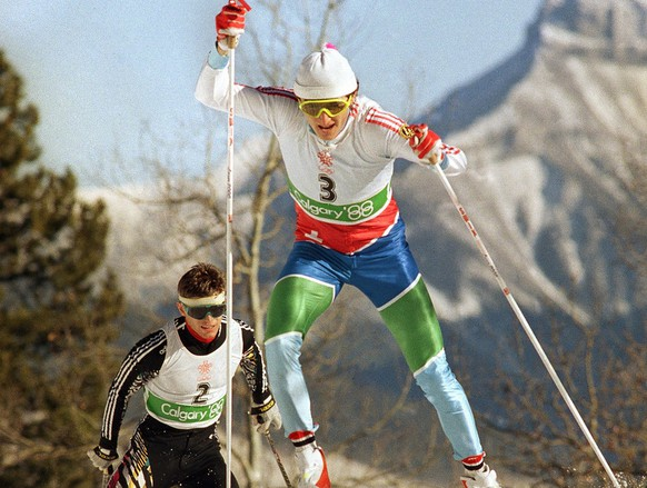 Switzerland?s Hippolyt Kempf races ahead of West Germany?s Hubert Schwarz in the Nordic combined 15km event to win the last gold medal in the Olympic Games in Canmore on Sunday, Feb. 28, 1988. (AP Photo/Tom Smart)