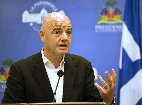 FILE - In this Saturday, April 29, 2017 file photo, FIFA President Gianni Infantino gives a press conference at the National Palace in Port-au-Prince, Haiti. An accelerated process to hand North America the 2026 World Cup is set to be approved by soccer leaders this week, with FIFA President Gianni Infantino hoping for a