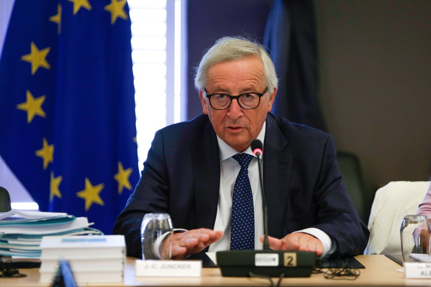 epa06984428 The President of the European Commission, Jean Claude Juncker, addresses European Commissionnaires at the beginning of a seminar of the European Commission in Genval, Belgium, 30 August 2018.  EPA/ARIS OIKONOMOU /  POOL POOL AFP