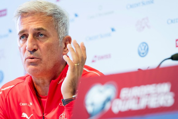 epa07825845 Swiss national soccer team head coach Vladimir Petkovic speaks during a press conference in Montreux, Switzerland, 07 September 2019. Switzerland will face Gibraltar in their UEFA EURO 2020 qualifying group D soccer match on 08 September 2019.  EPA/LAURENT GILLIERON