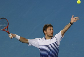 Stan Wawrinka of Switzerland serves to Nicolas Almagro of Spain during their match at the Mubadala World Tennis Championship in Abu Dhabi January 1, 2015. REUTERS/ Martin Dokoupil (UNITED ARAB EMIRATES - Tags: SPORT TENNIS)