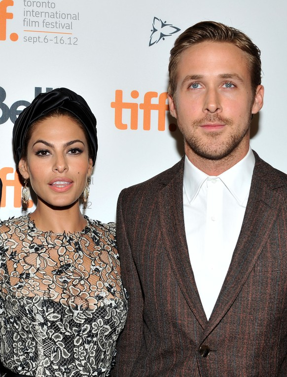 "FILE - JULY 09: Actors Eva Mendes and Ryan Gosling are expecting their first child together. The couple have been together since 2011. TORONTO, ON - SEPTEMBER 07:  Actors Eva Mendes and Ryan Gosling attend ""The Place Beyond The Pines"" premiere during the 2012 Toronto International Film Festival at Princess of Wales Theatre on September 7, 2012 in Toronto, Canada.  (Photo by Sonia Recchia/Getty Images)"