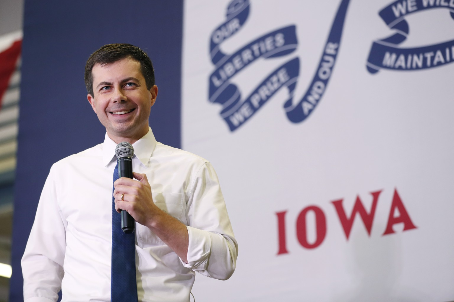 Democratic presidential candidate South Bend, Ind., Mayor Pete Buttigieg speaks during a town hall meeting, Monday, Nov. 25, 2019, in Creston, Iowa. (AP Photo/Charlie Neibergall) Pete Buttigieg