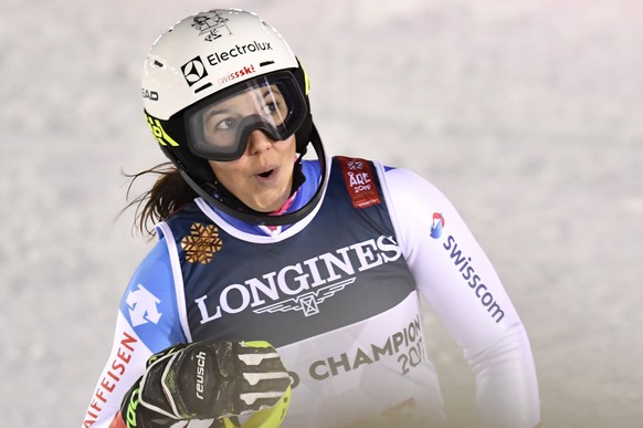 epa07353046 Wendy Holdener of Switzerland reacts in the finish area during the Slalom run of the women's Alpine Combined race at the FIS Alpine Skiing World Championships in Are, Sweden, 08 February 2019. Holdener won the competition.  EPA/ANDERS WIKLUND  SWEDEN OUT