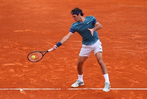 MONTE-CARLO, MONACO - APRIL 16:  Roger Federer of Switzerland in action against Radek Stepanek of Czech Republic during day four of the ATP Monte Carlo Rolex Masters Tennis at Monte-Carlo Sporting Club on April 16, 2014 in Monte-Carlo, Monaco.  (Photo by Julian Finney/Getty Images)