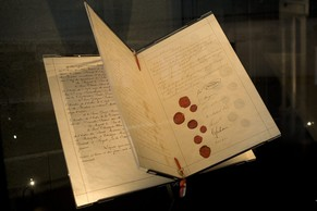 The original document of the first Geneva Convention, for the Amelioration of the Condition of the Wounded in Armies in the Field signed in 1864, is displayed at the International Red Cross and Red Crescent Museum, in Geneva, Switzerland, Tuesday, August 11, 2009. The Geneva Conventions and their Additional Protocols are at the core of international humanitarian law, the body of international law that regulates the conduct of armed conflict and seeks to limit its effects. (KEYSTONE/Salvatore Di Nolfi)