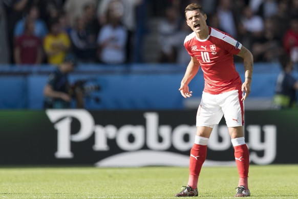 Swiss midfielder Granit Xhaka reacts during the UEFA EURO 2016 group A preliminary round soccer match between Romania and Switzerland, at the Parc des Princes stadium, in Paris, France, Wednesday, June 15, 2016. (KEYSTONE/Jean-Christophe Bott)