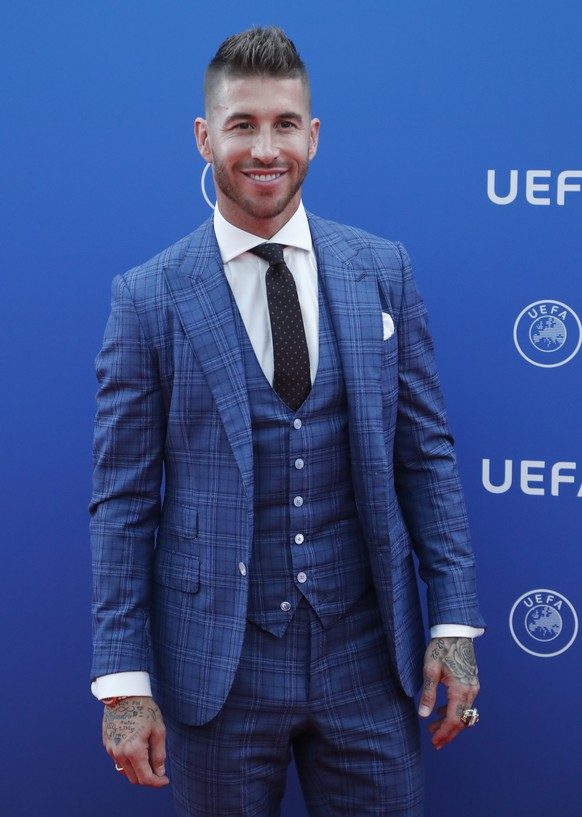 epa06984427 Real Madrid's Sergio Ramos arrives for the UEFA Champions League Group Stage Draw and Awards in Monaco, 30 August 2018.  EPA/GUILLAUME HORCAJUELO
