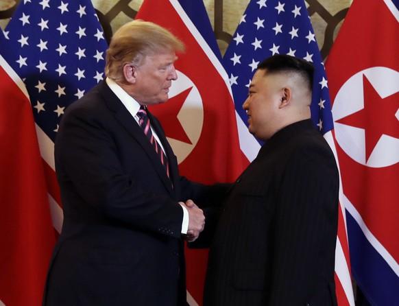President Donald Trump meets North Korean leader Kim Jong Un, Wednesday, Feb. 27, 2019, in Hanoi. (AP Photo/ Evan Vucci)