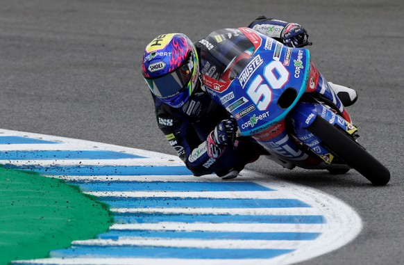 epa09170084 Swiss Moto3 rider Jason Dupasquier of CarXpert PruestelGP Team in action during the first free practice session for the Motorcycling Grand Prix of Spain held at Jerez racetrack, southern Spain, 30 April 2021. The races will take place on 02 May 2021.  EPA/Julio Munoz