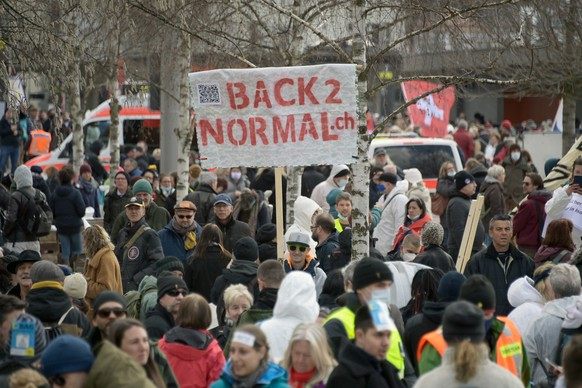 Anhaenger des Vereins Stiller Protest bei einer Demonstration gegen die Massnahmen zur Eindaemmung des Coronavirus in Liestal, am Samstag, 20. Maerz 2021. (KEYSTONE/Georgios Kefalas)