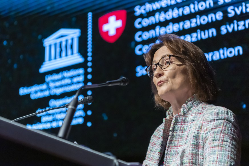 Pascale Baeriswyl, State Secretary, Federal Department of Foreign Affairs, Switzerland, speaks during the Opening of the International Conference on the Protection of Cultural Property on the 20th anniversary of the 1999 Second Protocol to the 1954 Hague Convention in Geneva, Switzerland, Thursday, April 24, 2019. (KEYSTONE/Martial Trezzini)