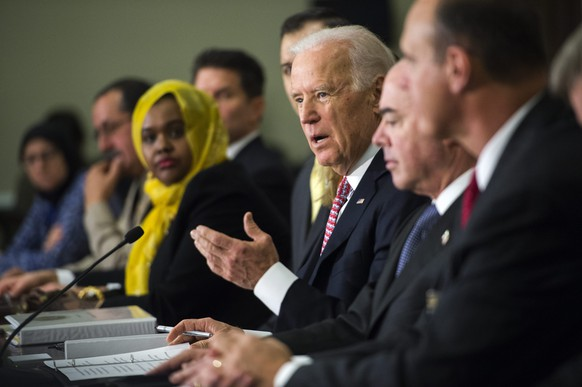 epa04624514 US Vice President Joseph Biden delivers remarks to the Countering Violent Extremism Roundtable at the White Housel in Washington, DC, USA 17 February 2015. Later this week, the US State Department will host a Countering Violent Extremism Summit, drawing leaders from across the globe.  EPA/SHAWN THEW