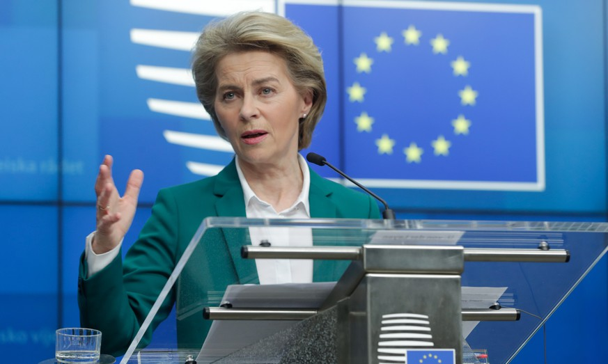 epa08298301 European Commission President Ursula Von Der Leyen gives as press conference after a conference call of G7 leaders on Coronavirus, COVID-19, at the European Council, Brussels, Belgium, 16 March 2020. Von Der Leyen proposed temporary restriction on non-essential travels to the European Union for 30 days to prevent spreading coronavirus COVID-19.  EPA/STEPHANIE LECOCQ