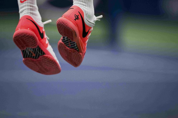 View of the tennis shoes worn by Roger Federer of Switzerland as he serves to Steve Darcis of Belgium during their second round match at the U.S. Open Championships tennis tournament in New York, September 3, 2015. REUTERS/Carlo Allegri
