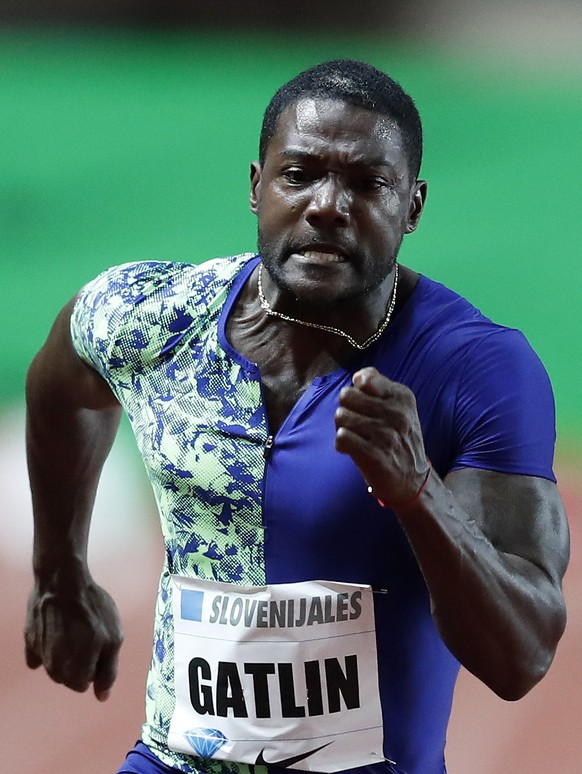 epa07713131 Justin Gatlin from US in action during the 100m Men competition at the IAAF Diamond League meeting at Stade Louis II in Monaco, 12 July 2019.  EPA/SEBASTIEN NOGIER