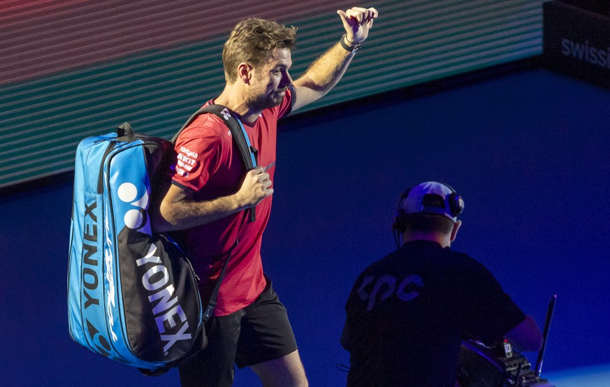 Switzerland's Stan Wawrinka arrives for his first round match against Uruguay's Pablo Cuevas at the Swiss Indoors tennis tournament at the St. Jakobshalle in Basel, Switzerland, on Wednesday, October 23, 2019. (KEYSTONE/Georgios Kefalas)