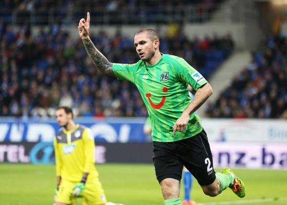 SINSHEIM, GERMANY - MARCH 26:  Leon Andreasen of Hannover celebrates his team's first goal during the Bundesliga match between 1899 Hoffenheim and Hannover 96 at wirsol Rhein-Neckar Arena on March 26, 2014 in Sinsheim, Germany.  (Photo by Simon Hofmann/Bongarts/Getty Images)