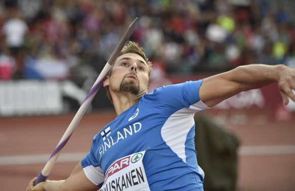 Finland's Antti Ruuskanen makes an attempt in the men's javelin qualification during the European Athletics Championships in Zurich, Switzerland, Thursday, Aug. 14, 2014. (AP Photo/Martin Meissner)