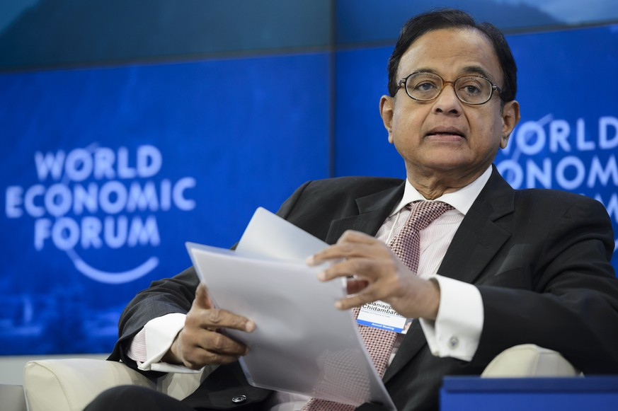 Palaniappan Chidambaram, minister of finance of India, speaks during a panel session on the second day of the 44th Annual Meeting of the World Economic Forum, WEF, in Davos, Switzerland, Thursday, Jan. 23, 2014. (AP Photo/Keystone, Laurent Gillieron)