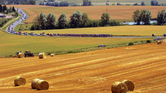 The pack rides through the countryside near Bassing, eastern France, during the 2nd stage of the 93rd Tour de France cycling race between Obernai, eastern France, and Esch-sur-Alzette, Luxembourg, Monday, July 3, 2006. (AP Photo/Alesandro Trovati)