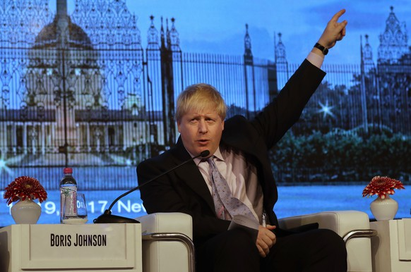 British Foreign Secretary Boris Johnson answers a question after his speech at the second edition of the Raisina Dialogue in New Delhi, India, Wednesday, Jan. 18, 2017. Raisina Dialogue is India's flagship geo-political conference organized annually by the Observer Research Foundation (ORF) in association with the Ministry of External Affairs. (AP Photo/Manish Swarup)