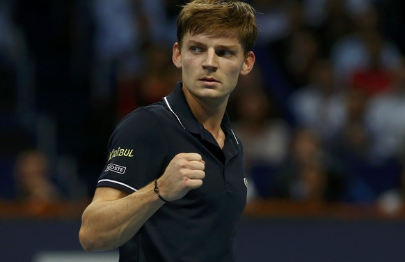 Belgium's David Goffin reacts during his semi-final match against Borna Coric of Croatia at the Swiss Indoors ATP tennis tournament in Basel October 24, 2014.  REUTERS/Arnd Wiegmann (SWITZERLAND - Tags: SPORT TENNIS)