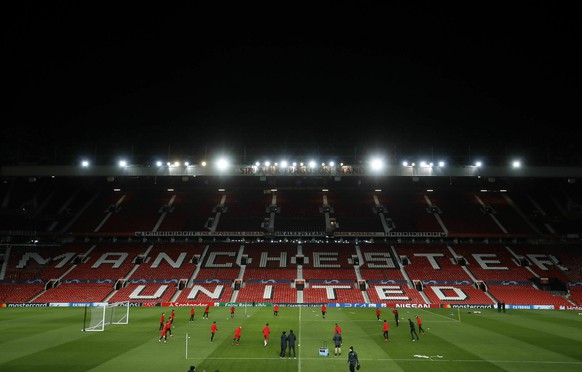 A general view of the Paris Saint Germain training session at Old Trafford, in Manchester, England, Monday, Feb. 11, 2019. Paris Saint Germain will play Manchester United in a Champions League Round of 16 soccer match on Tuesday. (Martin Rickett/PA via AP)