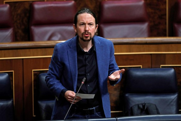 epa08446429 Spanish second Deputy Prime Minister, Pablo Iglesias, intervenes during question time at the Lower House in Madrid, Spain, 27 May 2020.  EPA/Chema Moya
