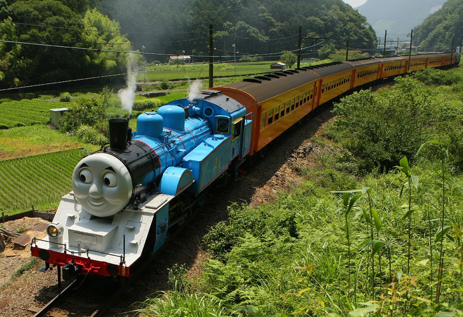 This picture taken on July 2, 2014 shows a life-sized Thomas the Tank Engine making a test run in the mountains on a line run by Japan's Oigawa railway near the city of Shimada in Shizuoka prefecture, west of Tokyo.  Rides on popular British character Thomas the Tank Engine will be offered to the public from July 12 through October 12 between Shinkanaya and Senzu stations.        JAPAN OUT      AFP PHOTO / JIJI PRESS